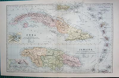 1901 Large Victorian  Map-Cuba And Jamaica, Lesser Antilles