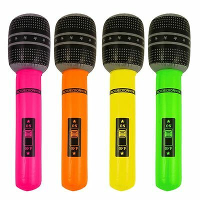 1Pk X 40Cm Inflatable Microphone Blow Up Neon Fancy Dress Hen Night Accessory