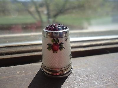 Guilloche German Sterling Silver enameled  Amethyst stone top rose small thimble