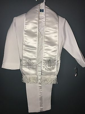 Baby Boy White Suit/Tuxedo Party/Baptism/Wedding 6 piece Outfit/ Silver Virgin
