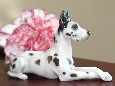 GREAT DANE DOG FIGURINE GERMAN VINTAGE PORCELAIN METZLER & ORTLOFF EUC c.1920's