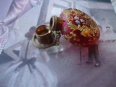 Antique Chatelaine Cranberry gold gilt floral hanging perfume scent bottle