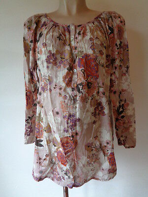 H&m Mama Maternity Flower Print Gypsy Tunic Blouse Top Size L 16-18