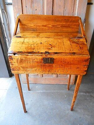 Pre - Civil War 1820's Antique Primitive Plantation Pine Clerks Desk