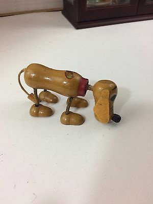 "4"" Long Antique Wood Disney Pluto Doll, Micky's Dog!"