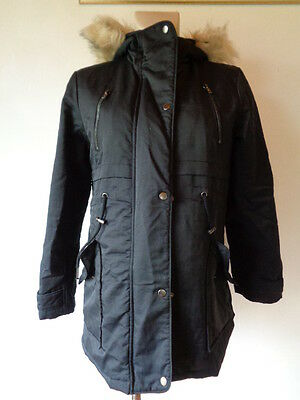 Asos Maternity Black Quilted Showerproof Hooded Parka Jacket Coat Size 6
