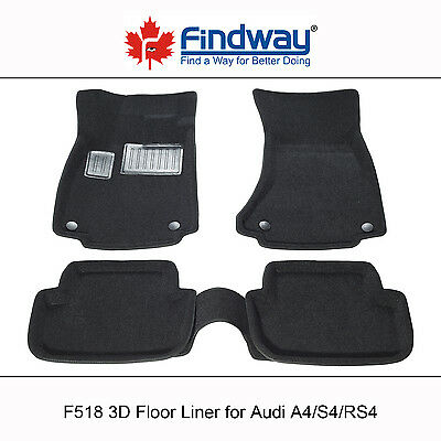 Black all Weather 3D Custom Car Floor Mats /Liners for 2009-2016  Audi A4/S4/RS4