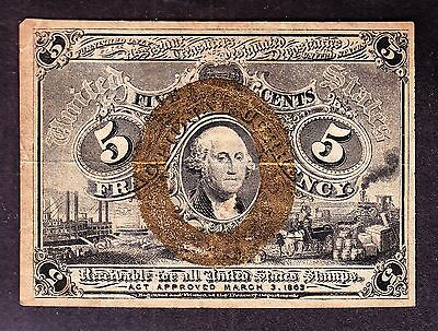 US 5c Fractional Currency Note 2nd Issue FR 1233 VF