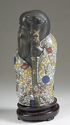 China Chinese Bronze & Cloisonne Figure Of Shou Lao on a Wooden Base
