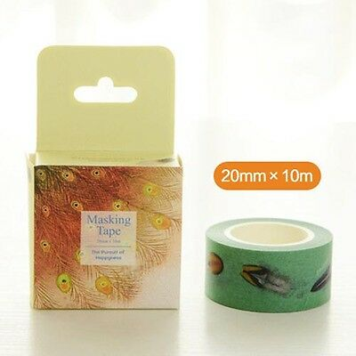 peacock feather Washi paper Masking Tape collage Decal stickers label kids gift