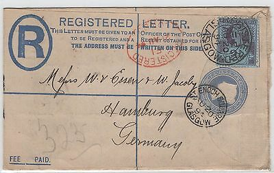Postal History. QV Registered cover  Great Britain. Glasgow to Germany 1892