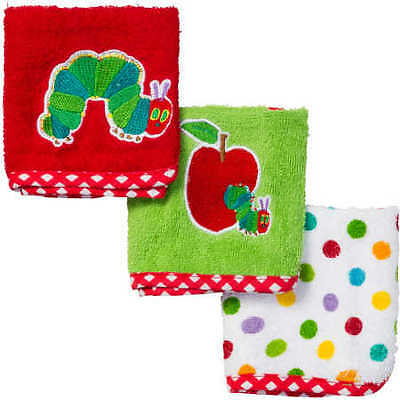 NEW The Very Hungry Caterpillar Face Washers 3 Pack