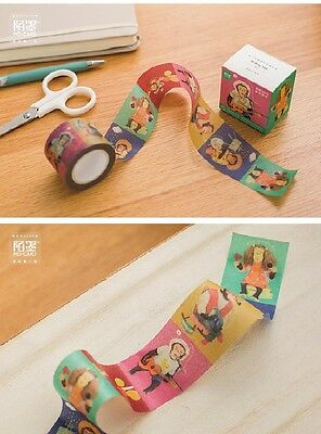 Funny Happy music monkey Washi paper Masking Tape collage Decal stickers label