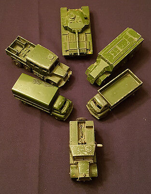 Vintage Dinky Toys - Lot Of 6 Army - Truck/tank - #689, 677, 661, 651, 621, 621