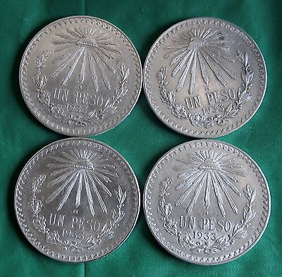 Mexico Lot of (4) One Peso 1933 Silver Coins Uncirculated
