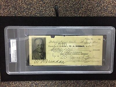 Chicago White Stockings Billy Sunday Evangelist Signed Autographed  Check Psa