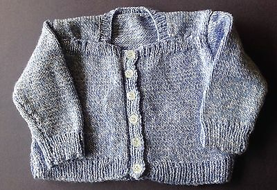 New hand knitted baby Jacket, Blue/ White Multi. Sz 0. Save post on 2 items