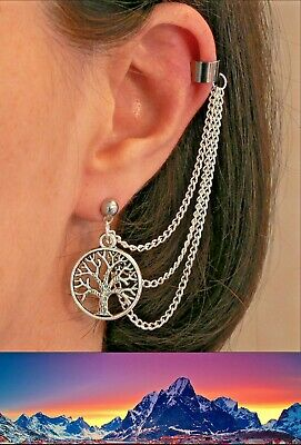 Lord of the Rings White Tree of Gondor Silver Ear-chain Stud Earring Ringer Gift