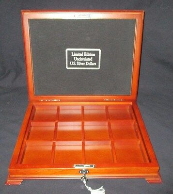 Cherry Wood Display & Storage Box For Silver Dollars 12 Compartment Key Lock