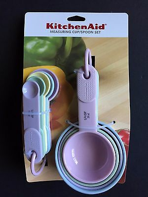KitchenAid Measuring Cup and Spoon Set with Soft Handles in Pastel Colors NEW