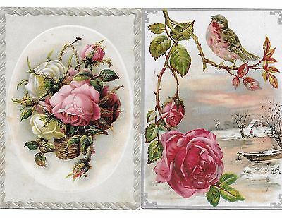 2 Lion Coffee Woolson Spice Co. Victorian Trade Cards Embossed Roses