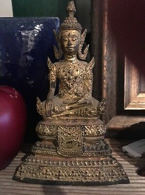 Old Thailand Gold Bronze Buddha Figure Religious Art Antique 7.5 inches tall