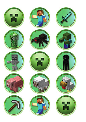 "Minecraft 2"" Birthday Cupcake Topper Edible Icing Image"