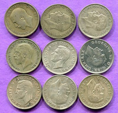 1920-44 Great Britain Silver Halfcrowns - 9 Piece Lot - Circulated
