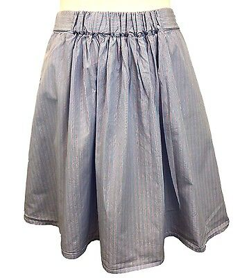 J Crew Skirt Size Small Blue Paper Bag Aline Blue Pink Stripe Elastic Waist
