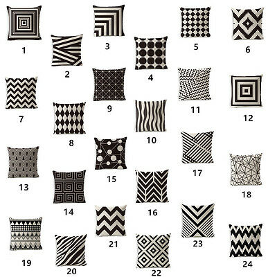 Geometric Cushion Cover Black And White Polyester Cotton Linen Throw Pillow Case