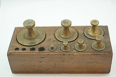 Antique Pharmacy Scale Weights Set Ny City Z-1 Brass Wood Balance 2 Pounds