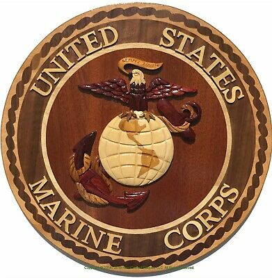 MARINE CORPS EMBLEM - USMC PLAQUES - Handcrafted Wooden Military Plaques
