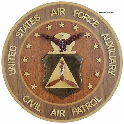 CIVIL AIR PATROL - AIR FORCE AUXILIARY - Handcrafted Wood Art Military Plaque