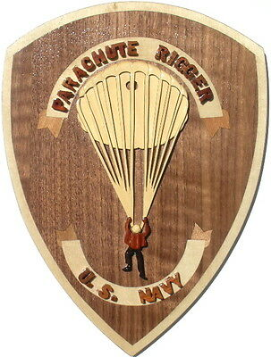 NAVY PARACHUTE RIGGER EMBLEM - NAVY PLAQUE  Handcrafted Wood Art Military Plaque