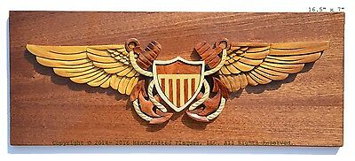 NAVAL FLIGHT OFFICER BADGE - NAVY PLAQUE  Handcrafted Military Wood Art Plaque