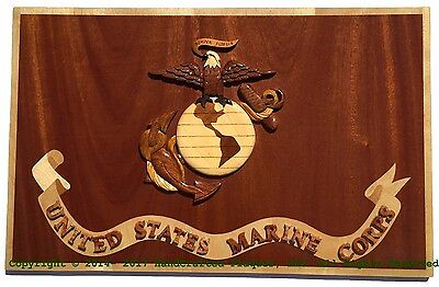 MARINE CORPS FLAG - MARINE CORPS PLAQUES - Handcrafted Wood Art Military Plaque
