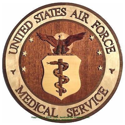 AIR FORCE MEDICAL SERVICE EMBLEM - USAF - Handcrafted Military Wood Art Plaque