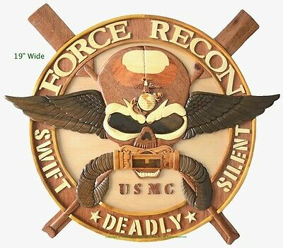 MARINE CORPS FORCE RECON (LARGE) - Handcrafted Wood Art Military Plaque