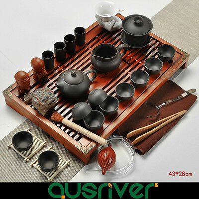 Oriental Traditional Chinese Zisha Tea Set Solid Clay Wood  Kungfu Tea Black