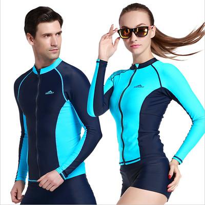 Mens Womens Rash Guard Zip Long Sleeve Rashie Swim Shirt Swimwear Clothing