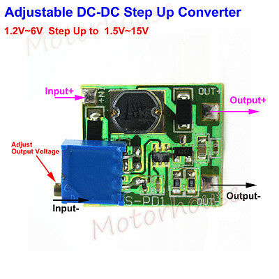 Mini DC Boost Step up Adjustable Converter 1.2v-6v to 1.5v-15v 3.3v 5v 6v 9v 12v