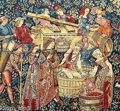 """Excellent Medieval Vintage Woven Tapestry """"wine Making Figures""""27'.5""""x46""""    S14"""