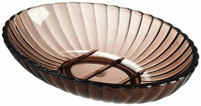 CNHF-BAABRSD-Carnation Home Fashions Brown Ribbed Acrylic Soap Dish