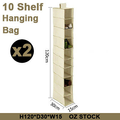 2X10 Section Clothes Shelf Shoes Rack Organiser Closet Hanging Storage Wardrobe