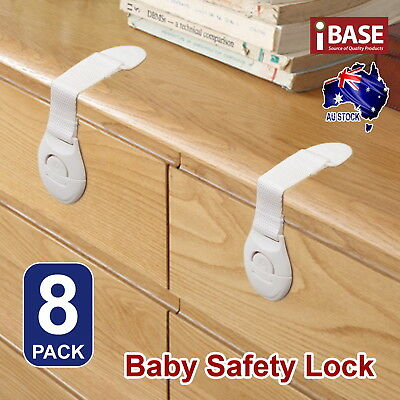 8x Child Adhesive Kid Baby Safety Drawer Door Lock Cupboard Cabinet Belt White