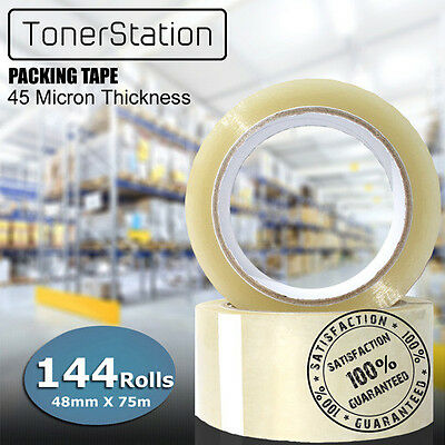 144 Rolls Packing Tape Packaging Sticky Sealing Shipping Box Carton 48mm 75m