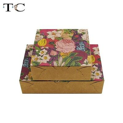 10pcs DIY Hand Made Flower Kraft Paper Package Box Cake Cookie Package Gift Box