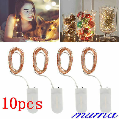 10 Pack 20 LED Wire Copper Fairy  String Light Battery Wedding Party Decor
