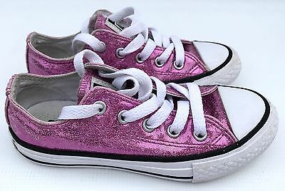 CONVERSE ALL STAR Pink Sparkly Low Top Trainers Kids size UK11.5