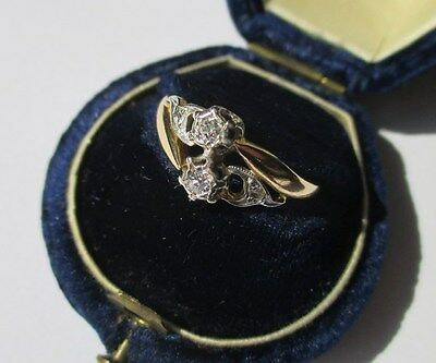 Bague Toi et Moi ancienne - Diamants - Gold ring or 18 carats 750 - 2,7g